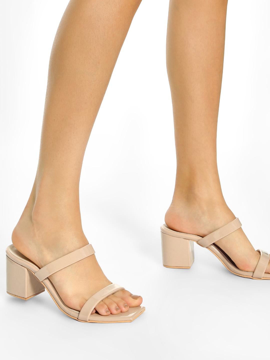 Shoe that fits You Beige Double Strap Heeled Sandals 1