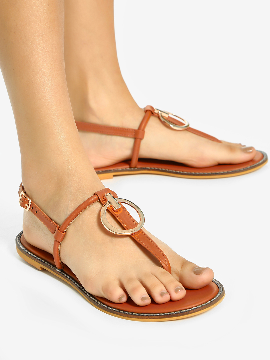 Shoe that fits You Tan Ring Embellished T-Strap Flat Sandals 1