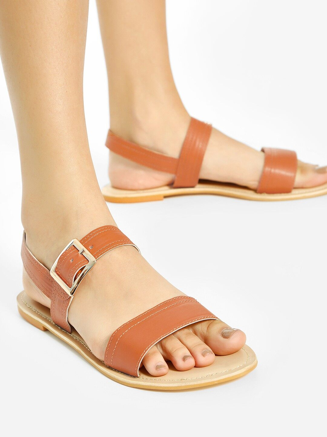 Shoe that fits You Tan Broad Strap Flat Sandals 1
