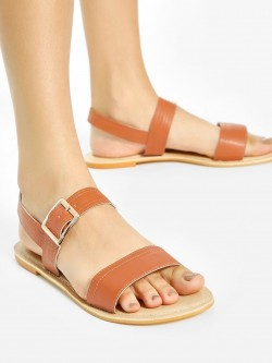 Shoe that fits You Broad Strap Flat Sandals
