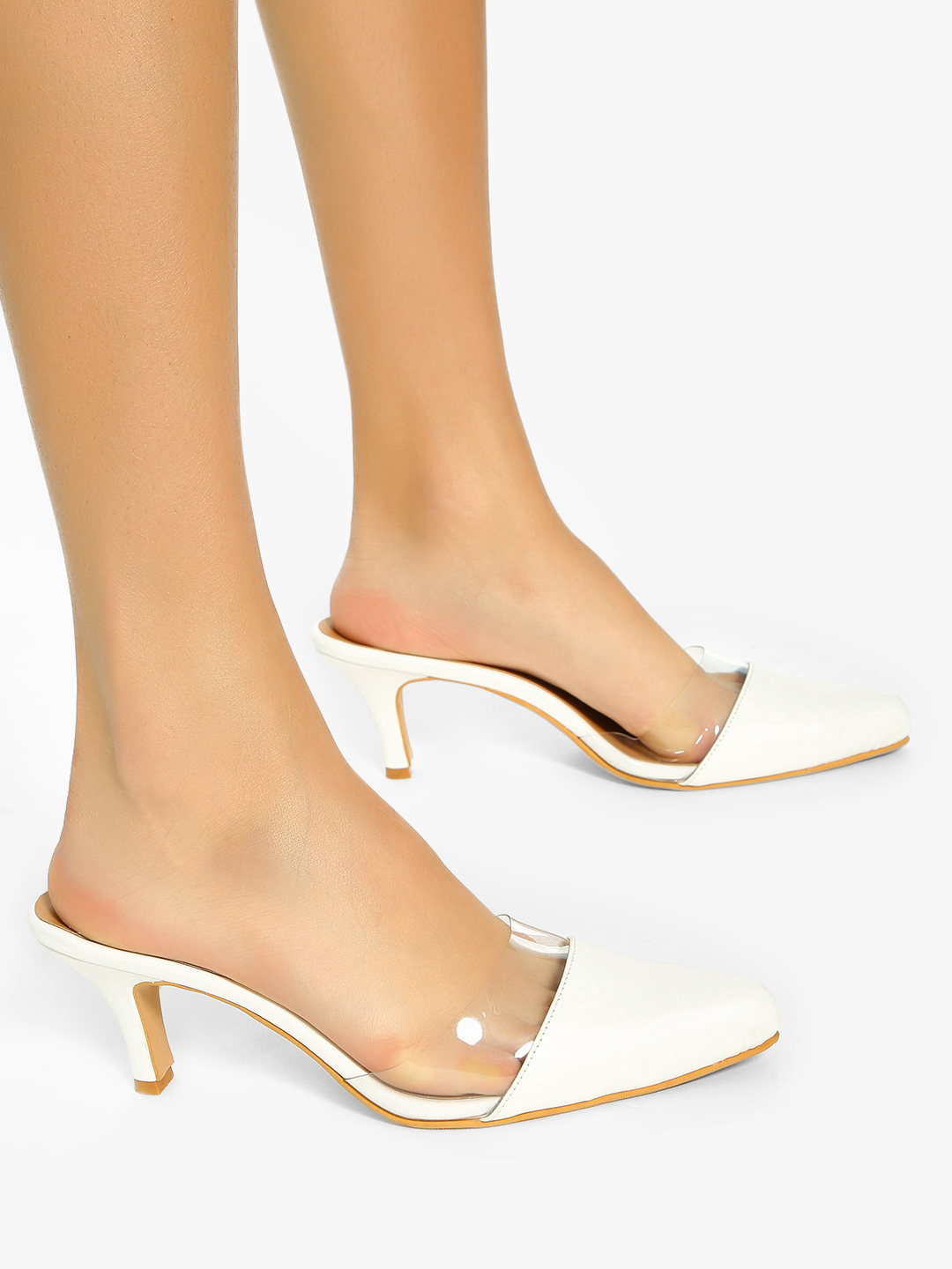 Shoe that fits You White Transparent Upper Kitten Heeled Shoes 1