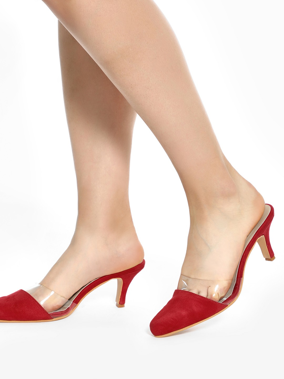 Shoe that fits You Red Transparent Upper Kitten Heeled Shoes 1