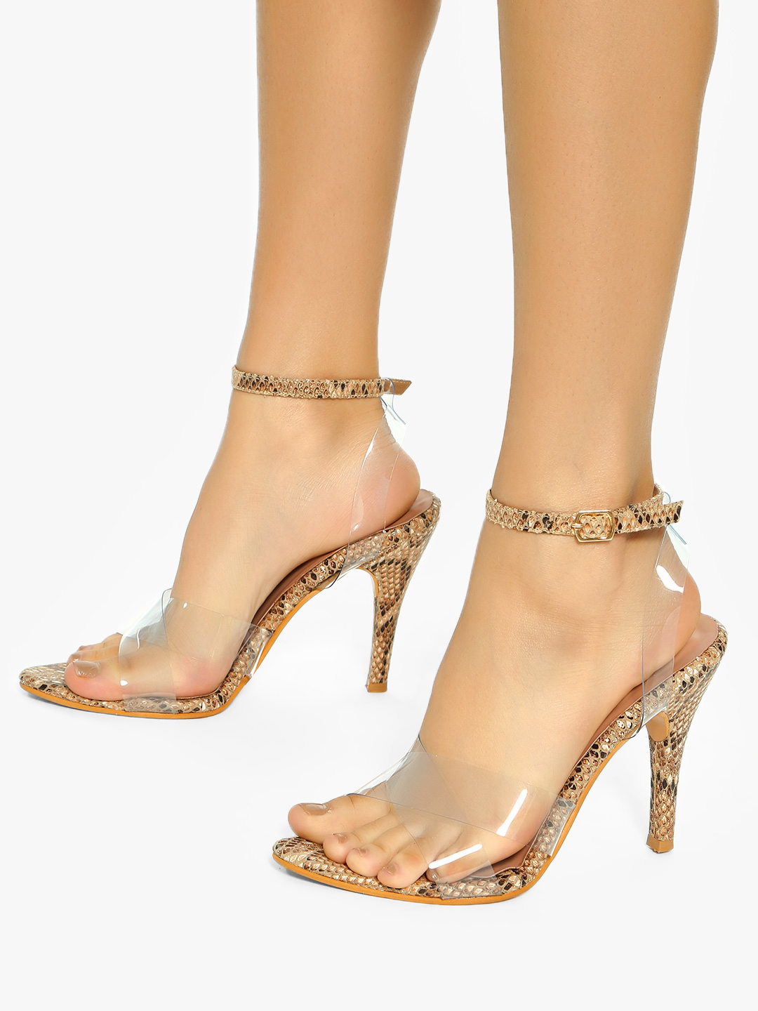 Shoe that fits You Brown Transparent Criss-Cross Heeled Sandals 1