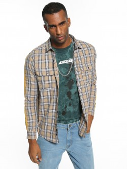 KOOVS Multi-Check Side Tape Shirt