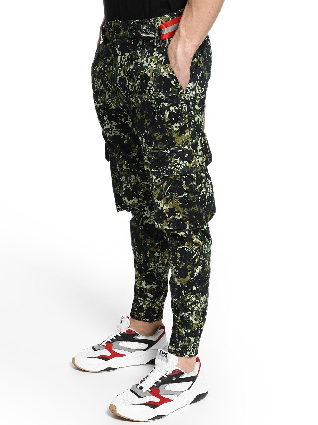 KOOVS Multi Abstract Floral Print Cargo Joggers 1