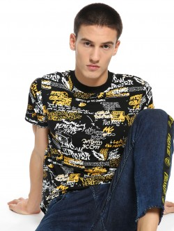 KOOVS Crew Neck Scribble Print T-Shirt