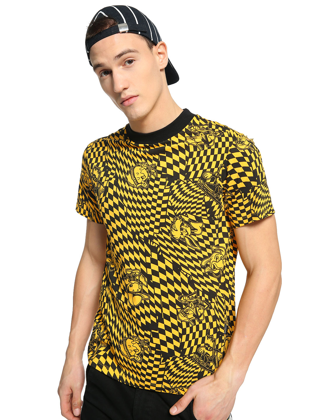 KOOVS Multi Raised Neck Checkerboard Print T-Shirt 1