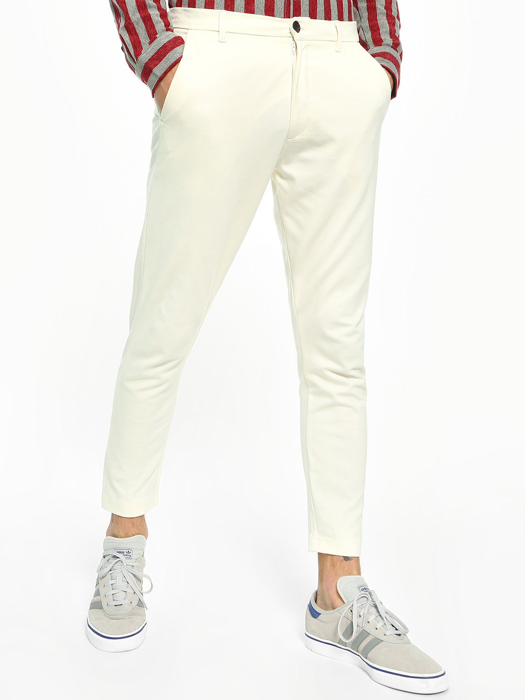 KOOVS White Basic Interlock Slim Fit Chinos 1