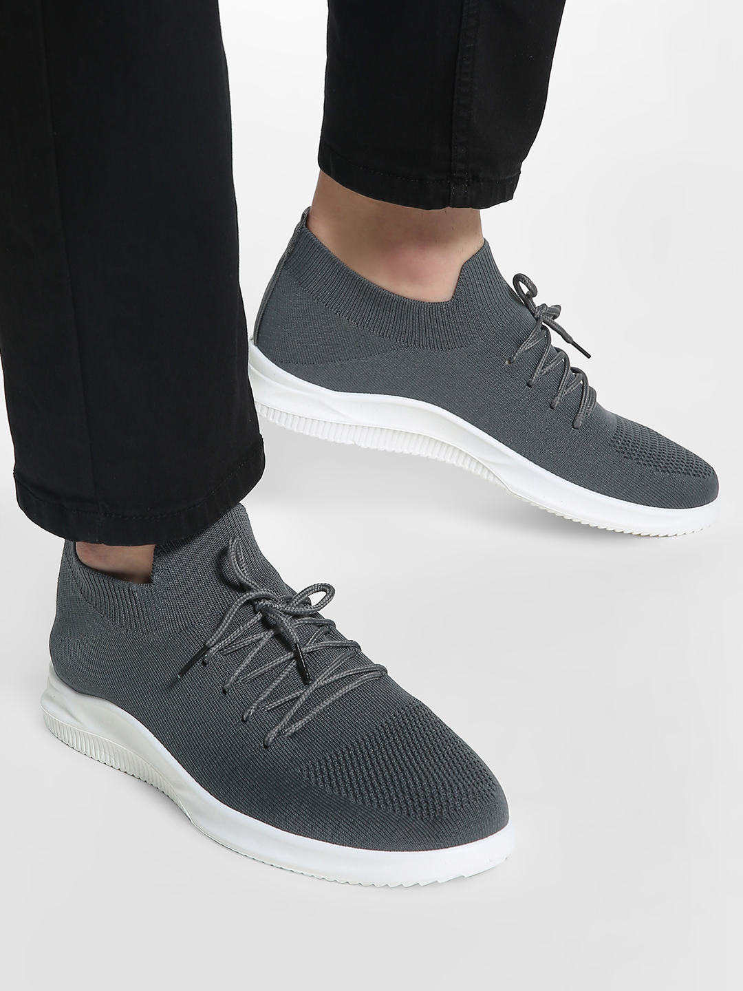 KOOVS Grey Knitted Lace-Up Shoes 1