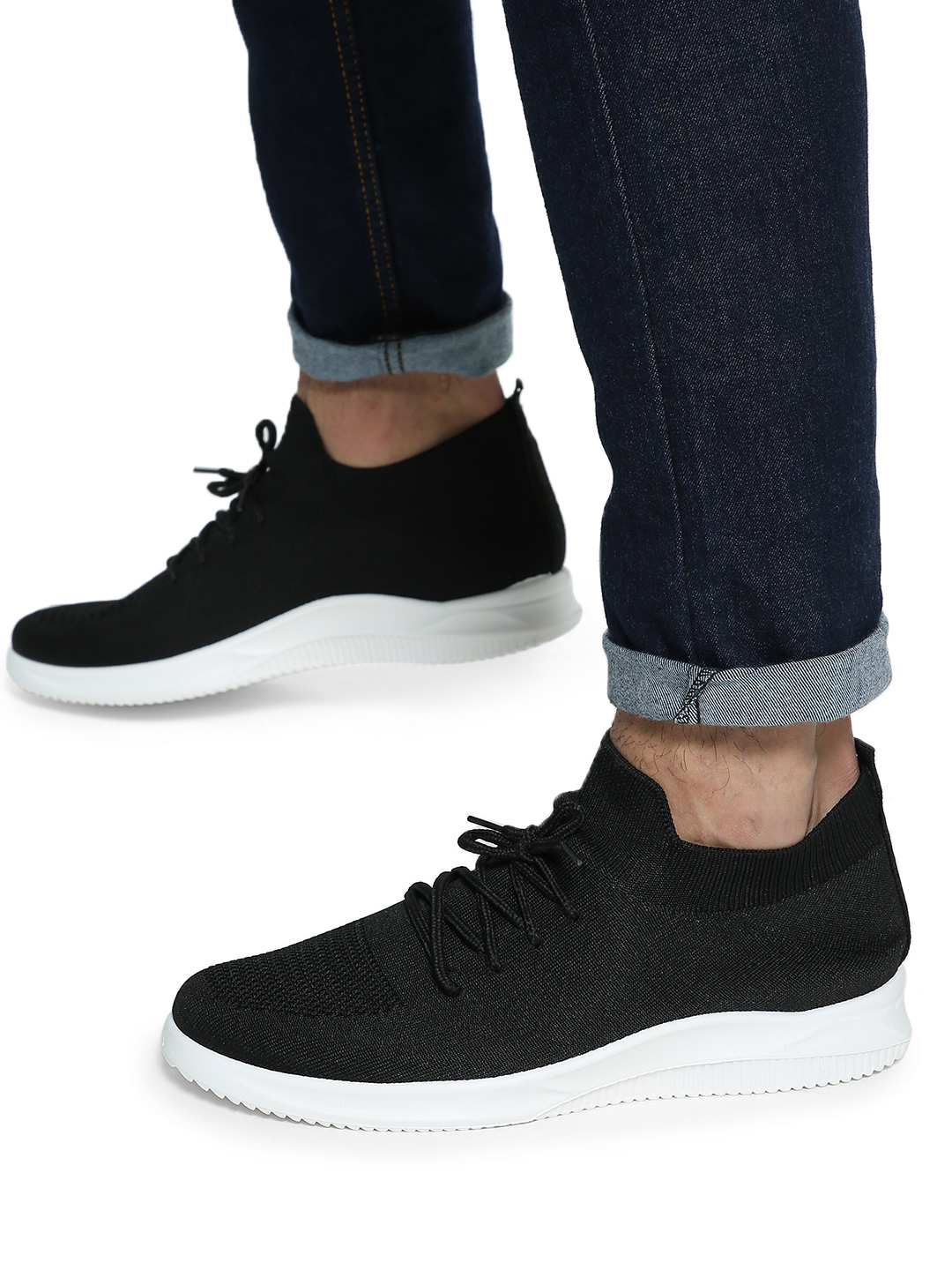 KOOVS Black Knitted Lace-Up Shoes 1