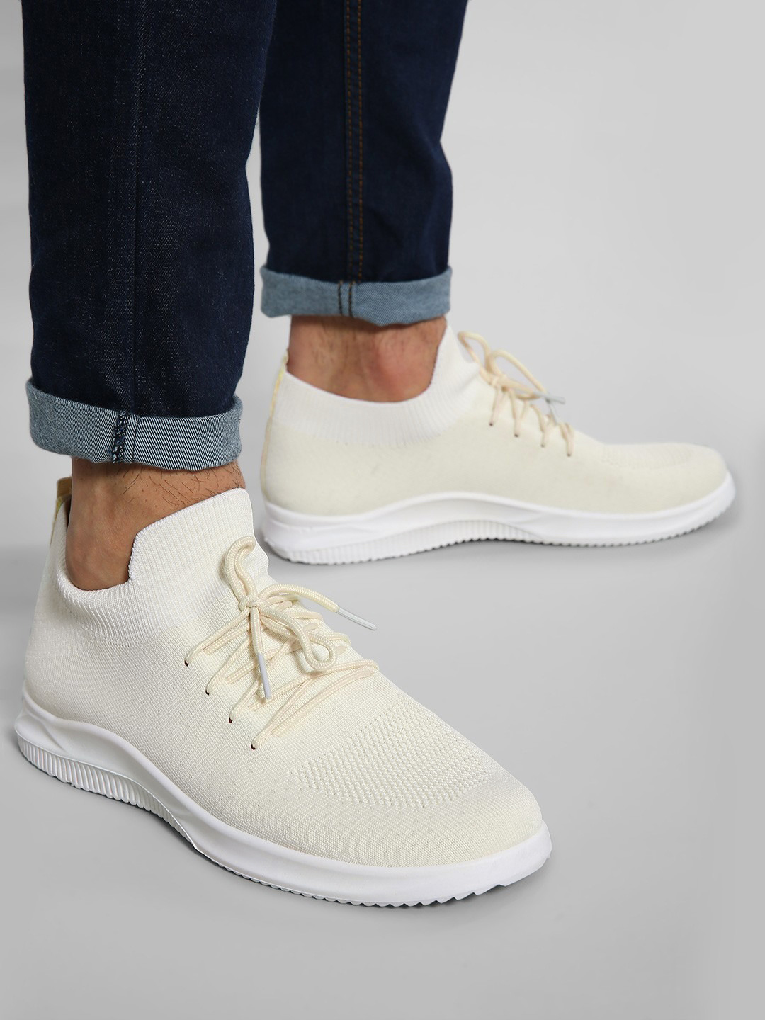 KOOVS Off White Knitted Lace-Up Shoes 1