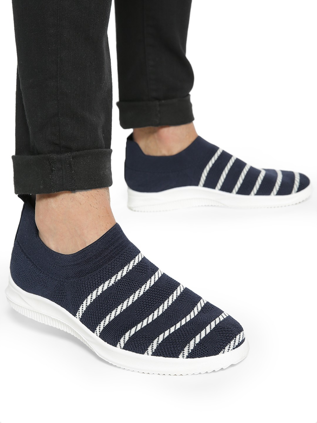 KOOVS Blue Stripe Knitted Sockliner Shoes 1