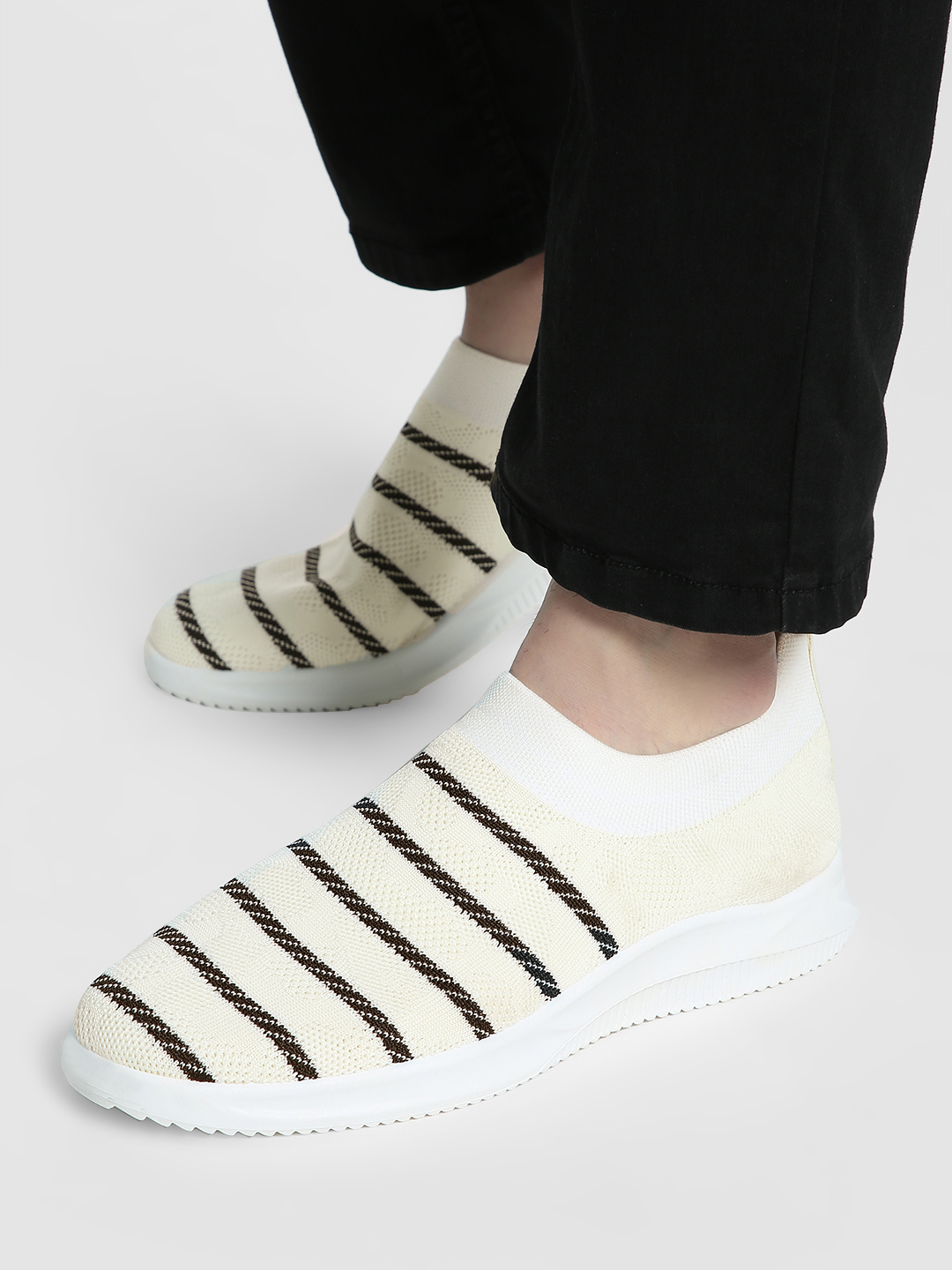 KOOVS White Stripe Knitted Sockliner Shoes 1