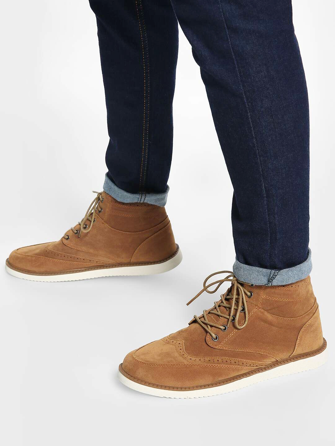 KOOVS Brown Brogue Punches Suede Chukka Boots 1