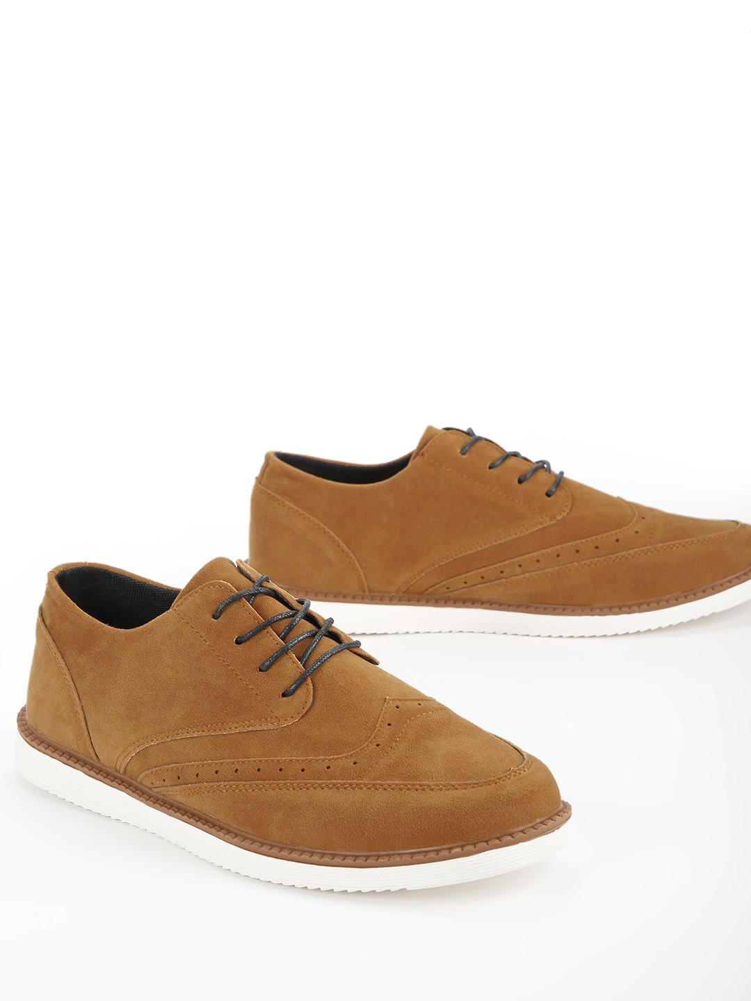 KOOVS Brown Brogue Punches Suede Casual Shoes 1