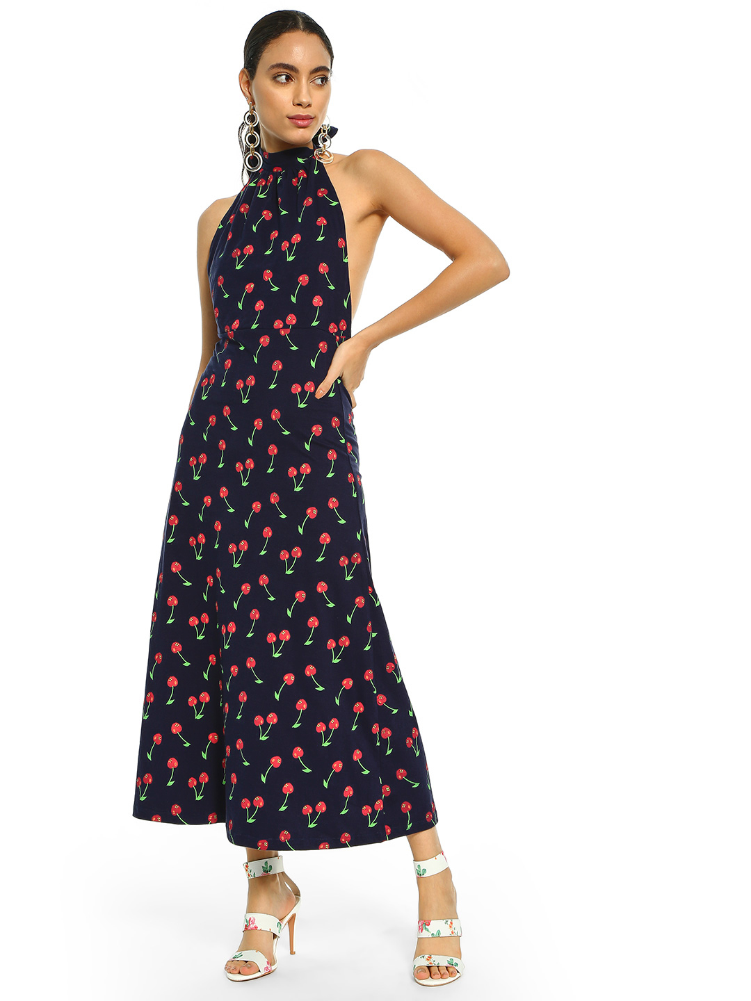 Spring Break Navy Cherry Print Halter Maxi Dress 1