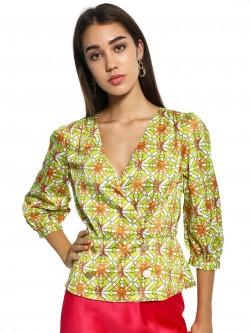 KOOVS Baroque Print Wrap Top
