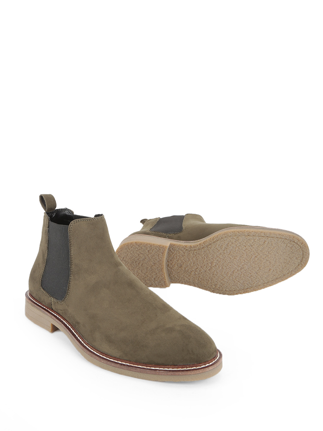KOOVS Olive Crepe Sole Suede Chelsea Boots 1