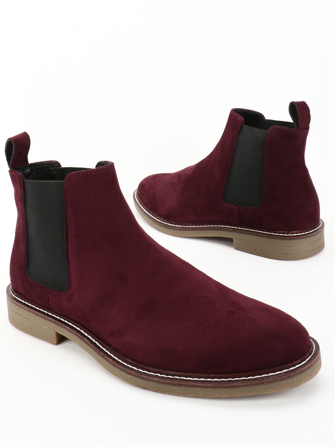 KOOVS Burgundy Contrast Side Panel Chelsea Boots 1