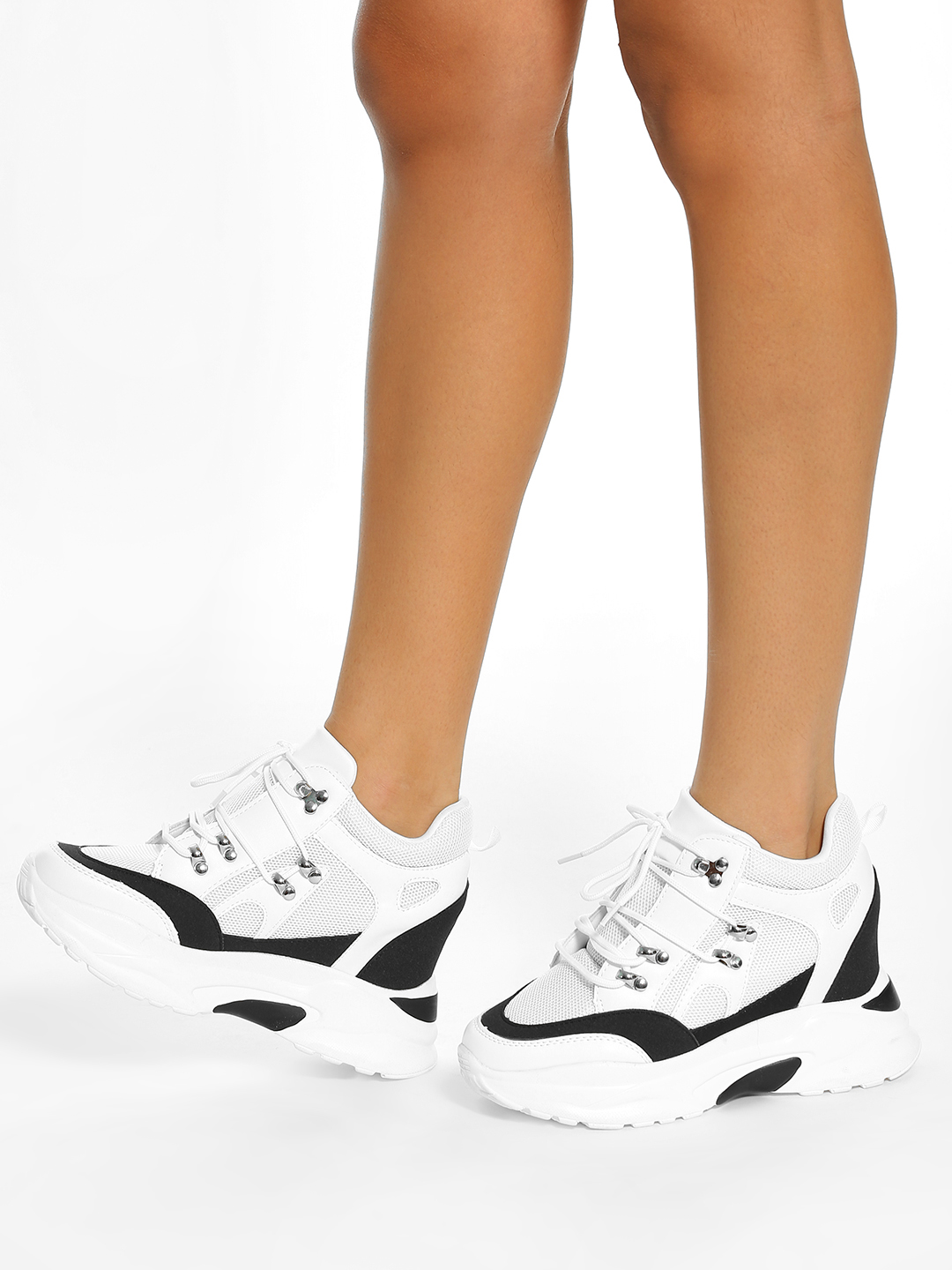 KOOVS WHITE/BLACK Mesh Suede Panel Wedge Trainers 1