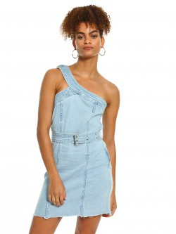 K Denim KOOVS One Shoulder Denim Dress