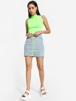 K Denim KOOVS Contrast Zip Detail Denim Skirt