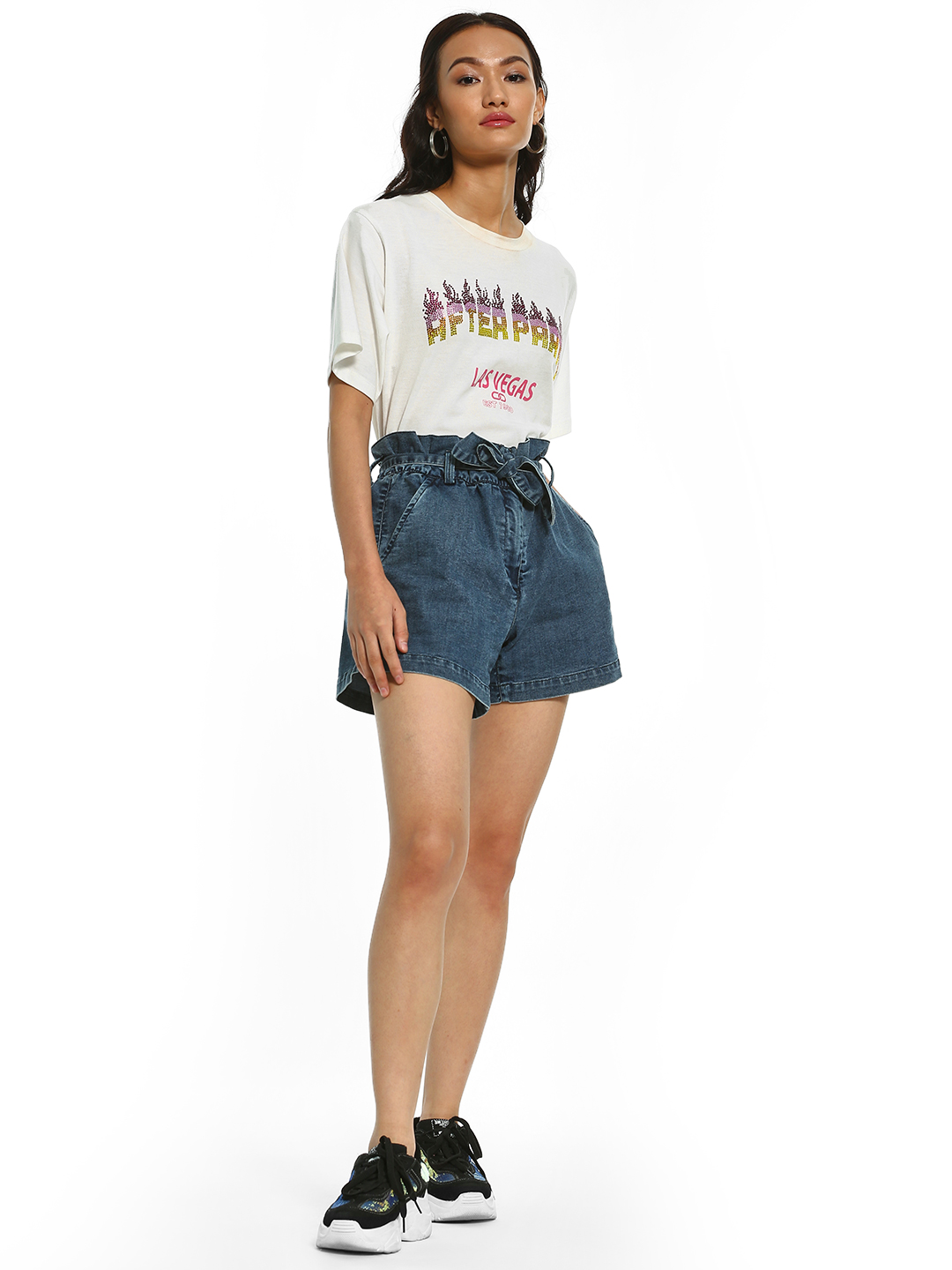 K Denim Blue KOOVS Paperbag Waist Denim Shorts 1