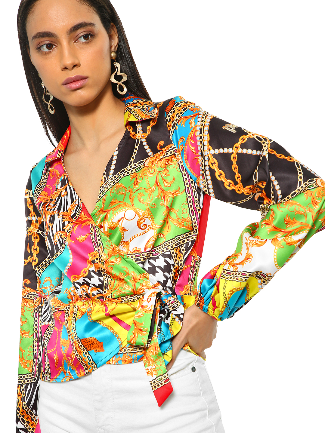 KOOVS Multi Baroque Print Wrap Collared Blouse 1