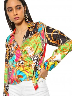 KOOVS Baroque Print Wrap Collared Blouse
