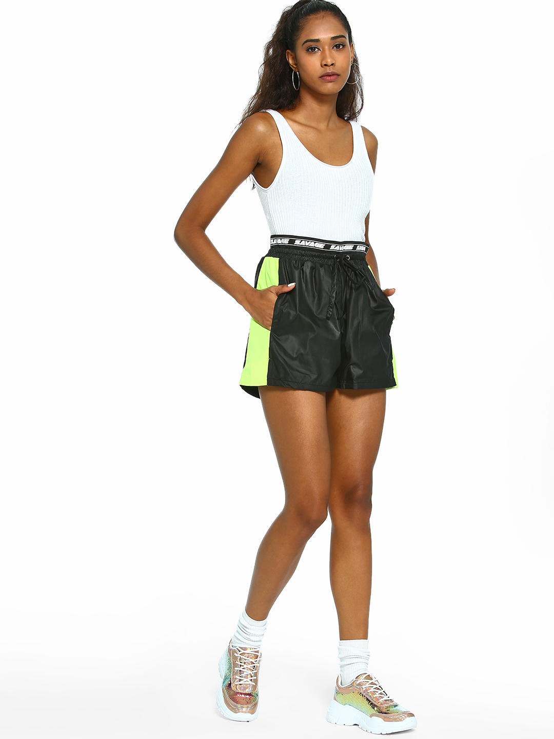 KOOVS Black Contrast Side Panel Shorts 1