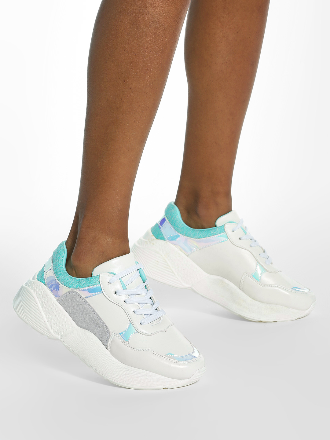 My Foot Couture White Suede Mesh Holographic Chunky Sole Trainers 1