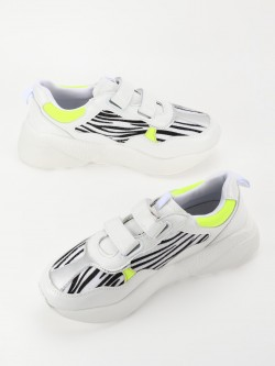 My Foot Couture Metallic Zebra Panel Velcro Trainers