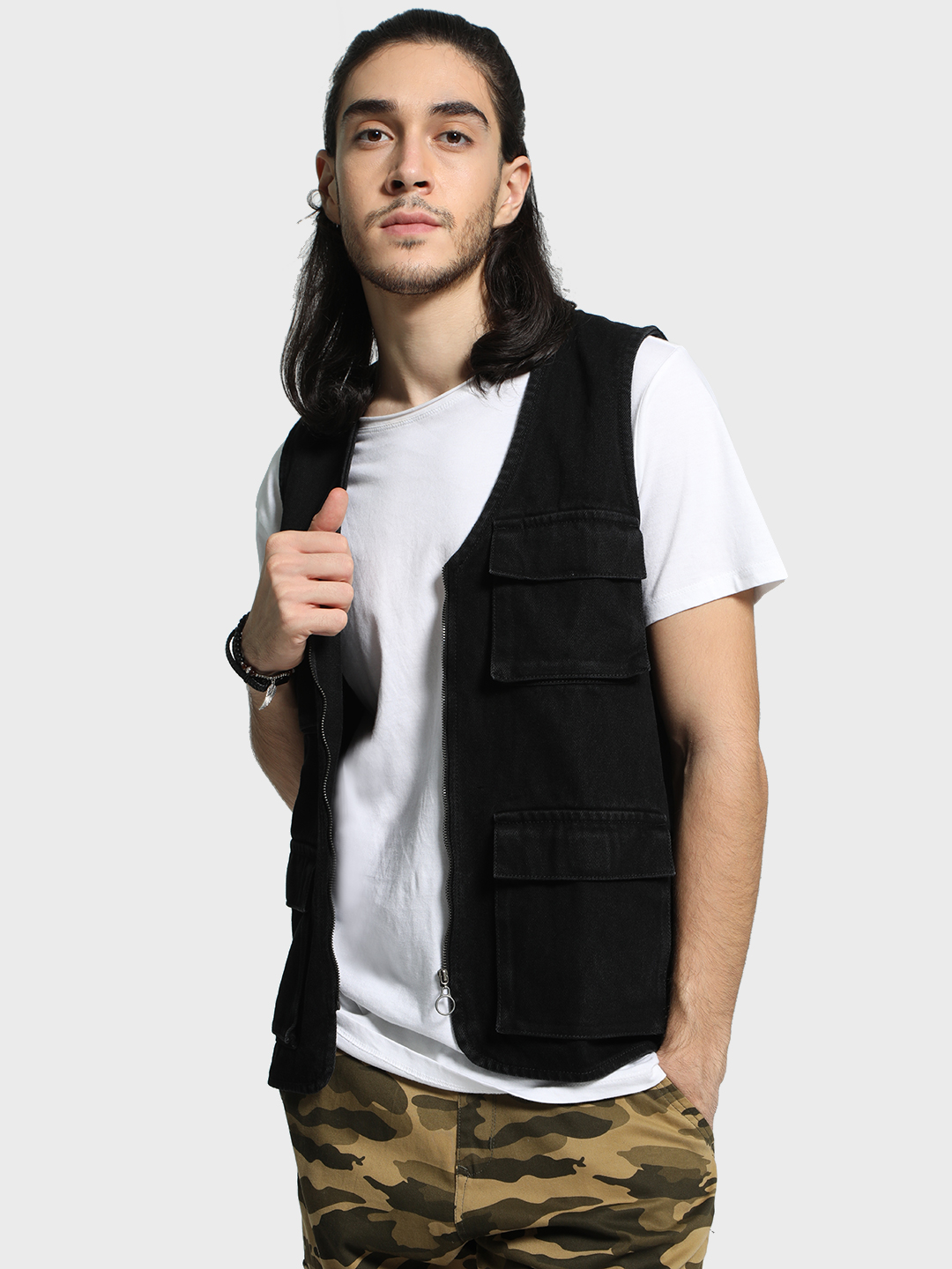 K Denim Black KOOVS Utility Sleeveless Denim Jacket 1
