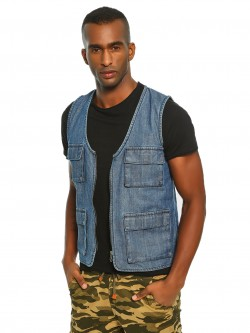 K Denim KOOVS Utility Sleeveless Denim Jacket