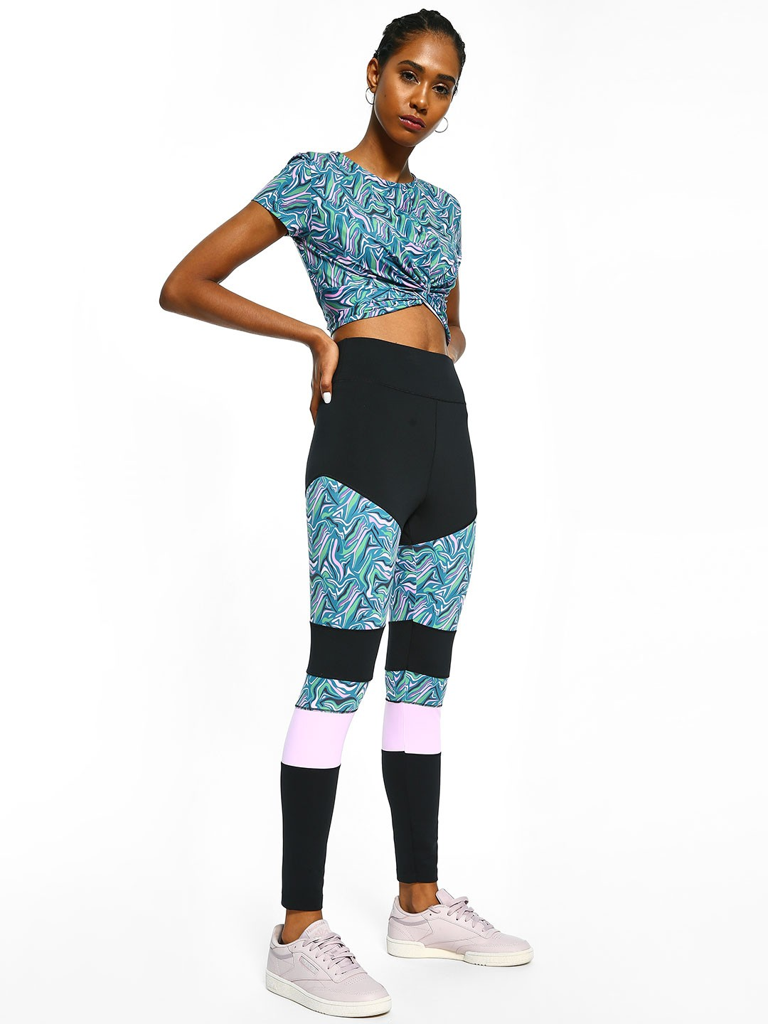 K ACTIVE Multi KOOVS Abstract Print Cut And Sew Leggings 1
