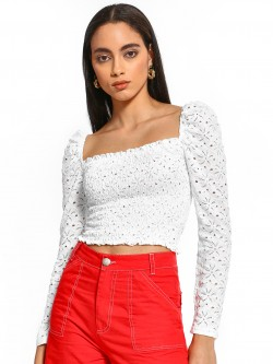 Iris Floral Lace Smocked Crop Top