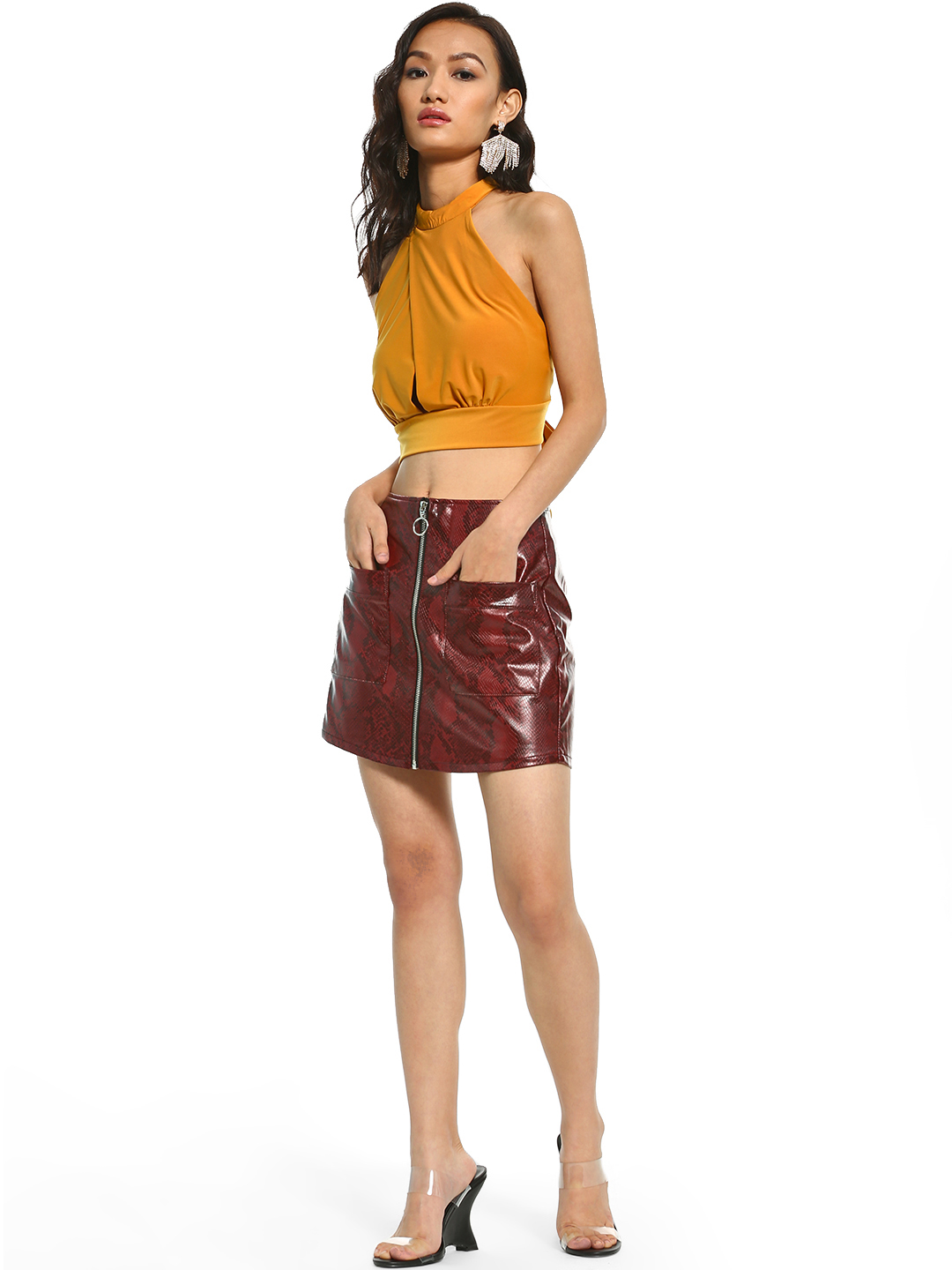 Iris Red Faux Leather Snakeskin Mini Skirt 1
