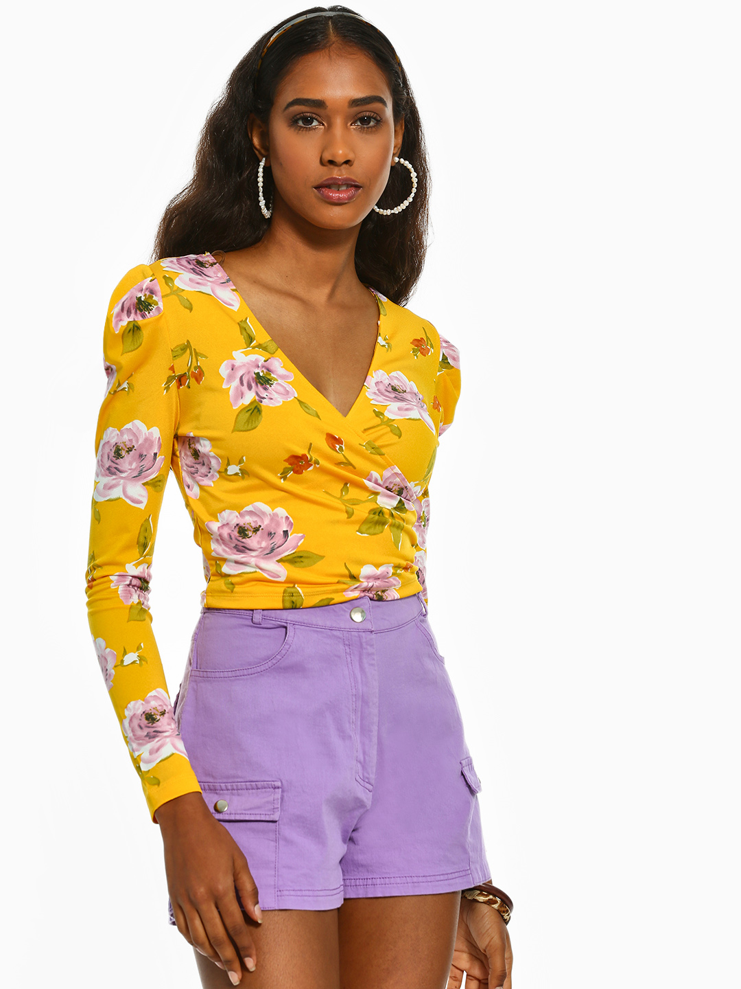 Iris Yellow Floral Print Crop Top 1