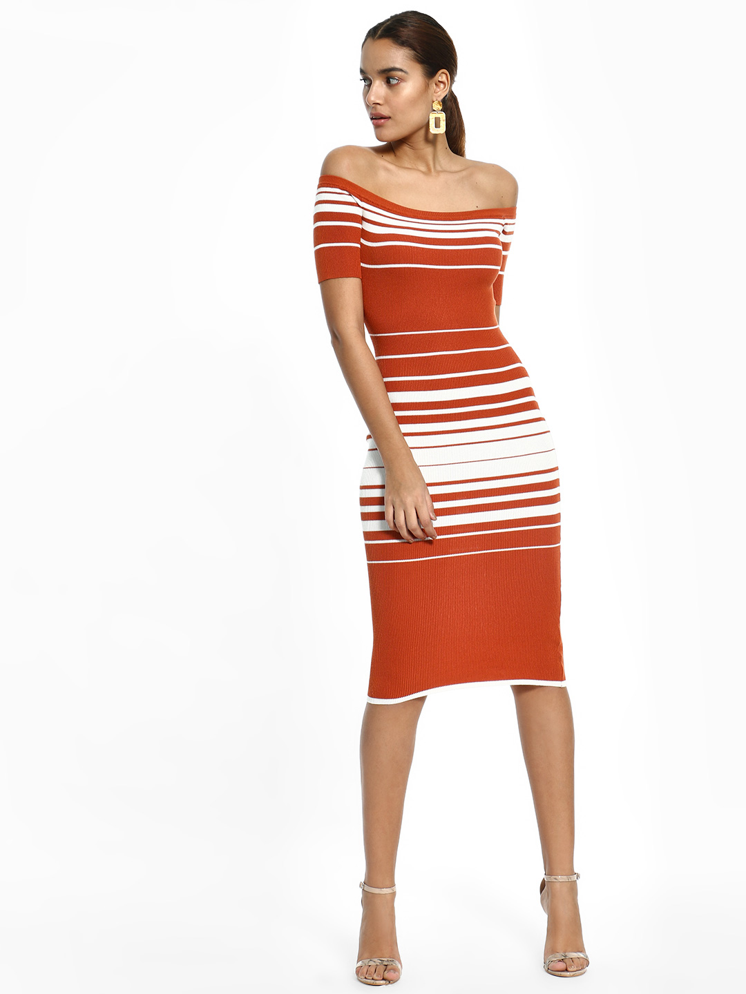Iris Rust Striped Off-Shoulder Bodycon Dress 1
