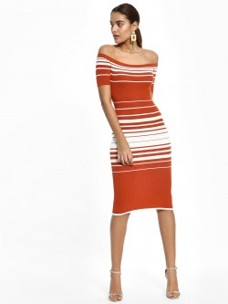 Iris Striped Off-Shoulder Bodycon Dress