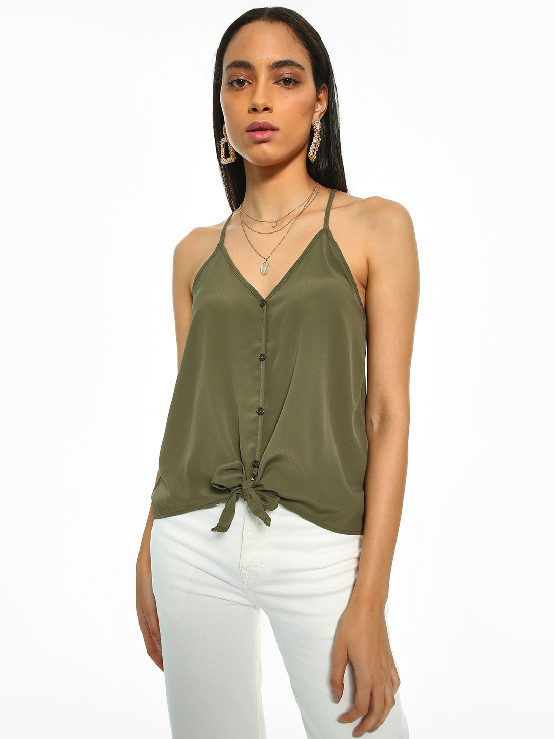 Iris Olive Tie-Knot Button-Down Top 1