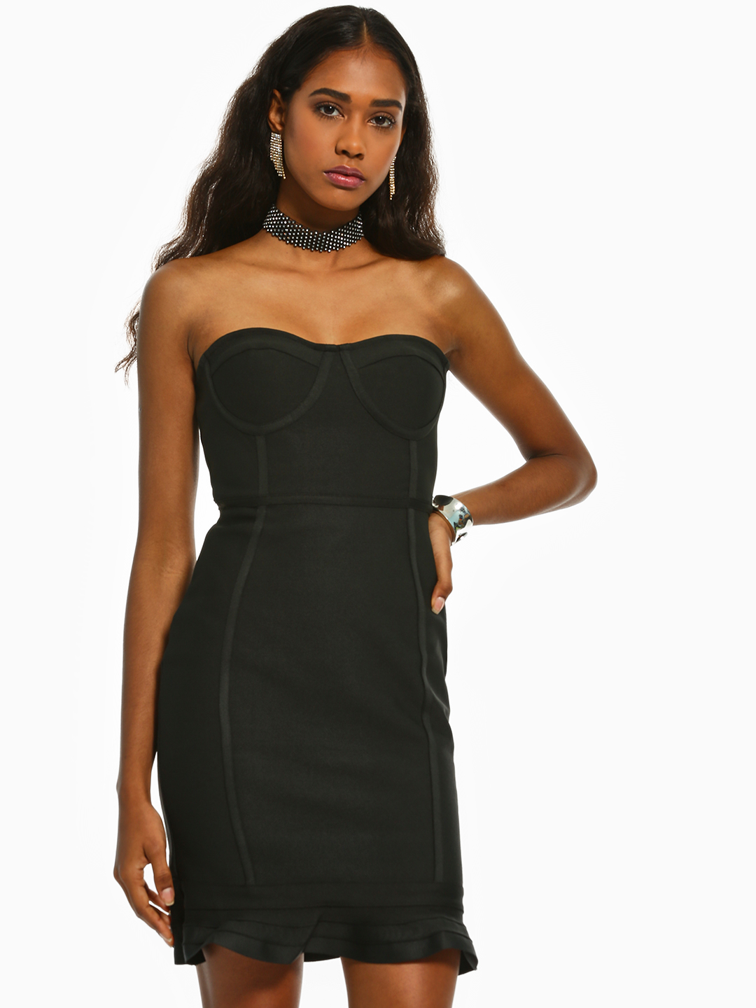 Iris Black Bustier Bandeau Bodycon Dress 1