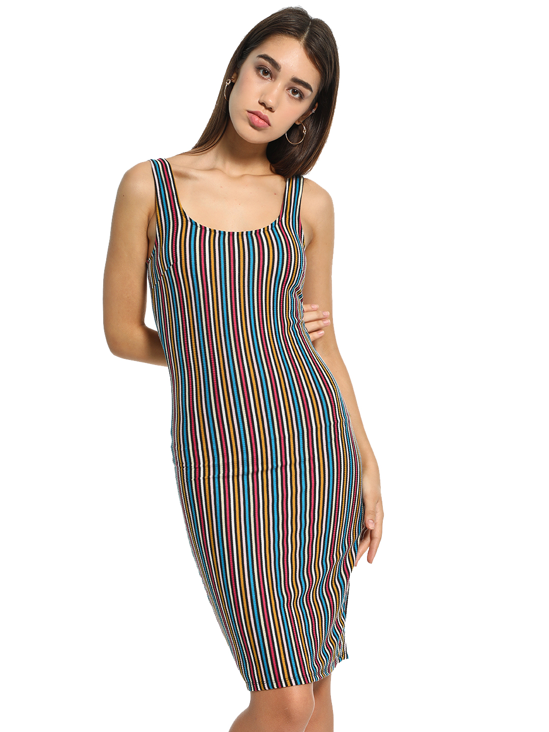 Iris Multi Vertical Stripe Sleeveless Bodycon Dress 1