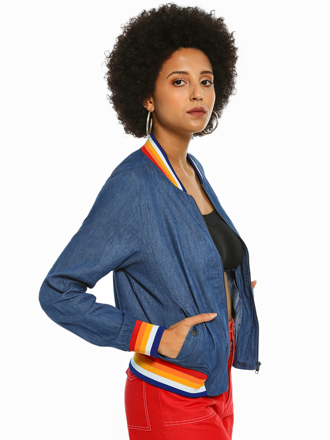 Iris Blue Contrast Stripe Chambray Bomber Jacket 1
