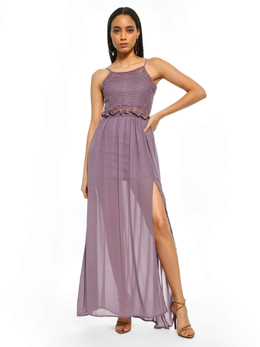 Iris Lavender Crochet Lace Maxi Dress 1