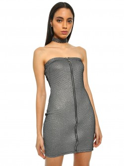 Iris Metallic Zip-Up Mini Bodycon Dress
