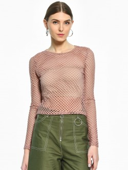 Iris Fishnet Mesh Long Sleeve Top