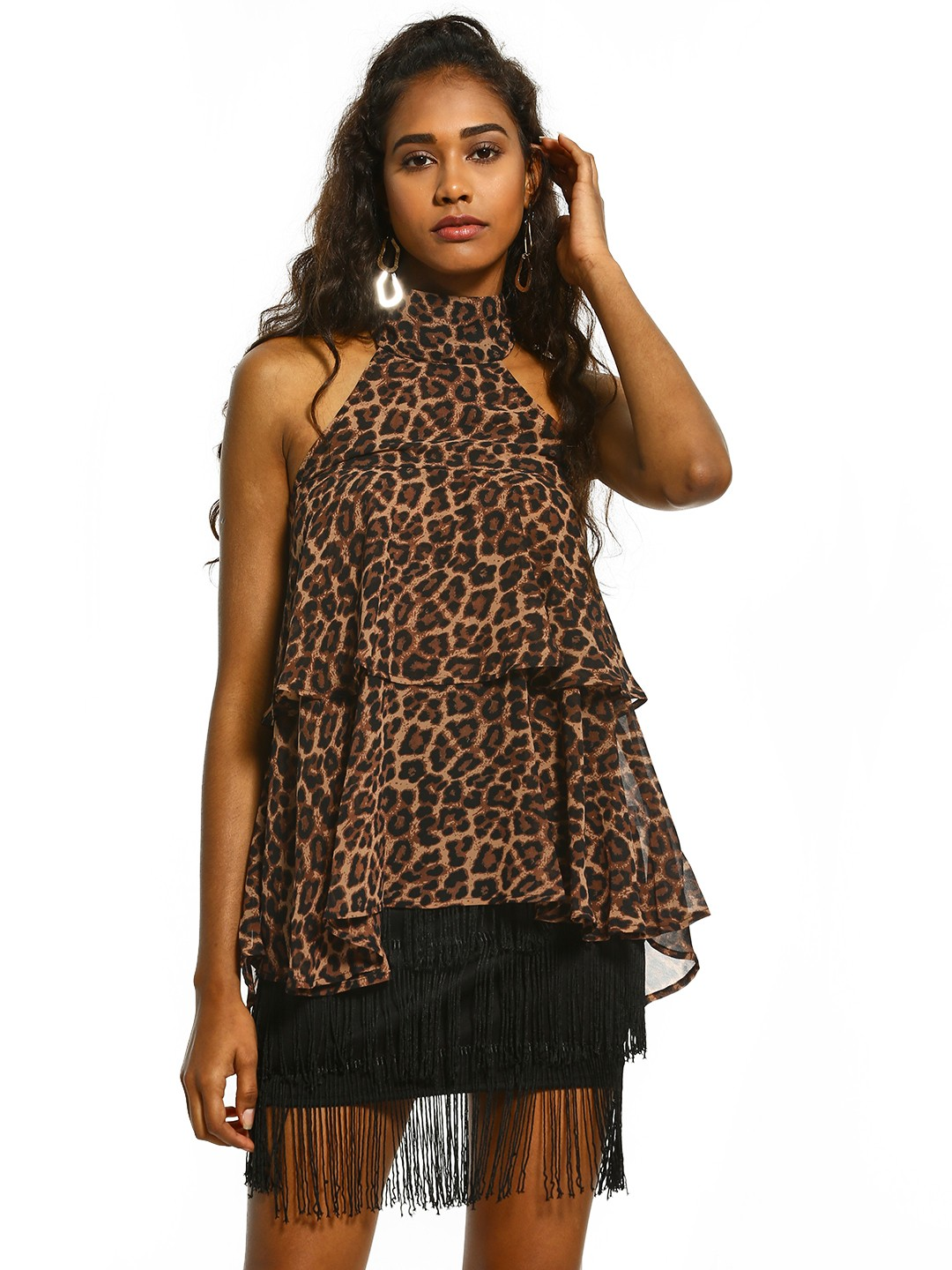 Femella Brown Leopard Print Halter Neck Top 1