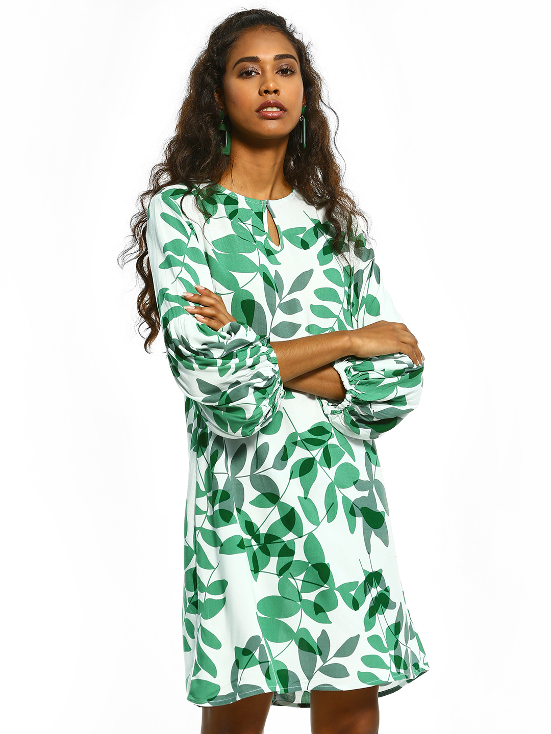 Femella Multi Leaf Print Shift Dress 1