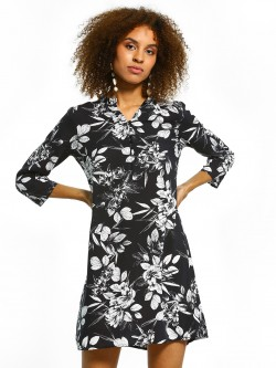 Femella Floral Print Mandarin Collar Shift Dress